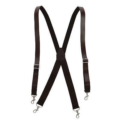 New CTM Men's Smooth Coated Leather Suspenders with Metal Sw