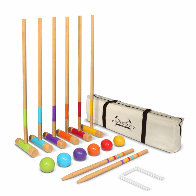 GoSports Standard 6 Person Lawn Kid and Adult Croquet Game Set (Open Box)