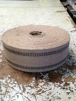 3 1/2 inch Wide Jute Webbing Black Stripe 9 Pound Upholstery Supplies