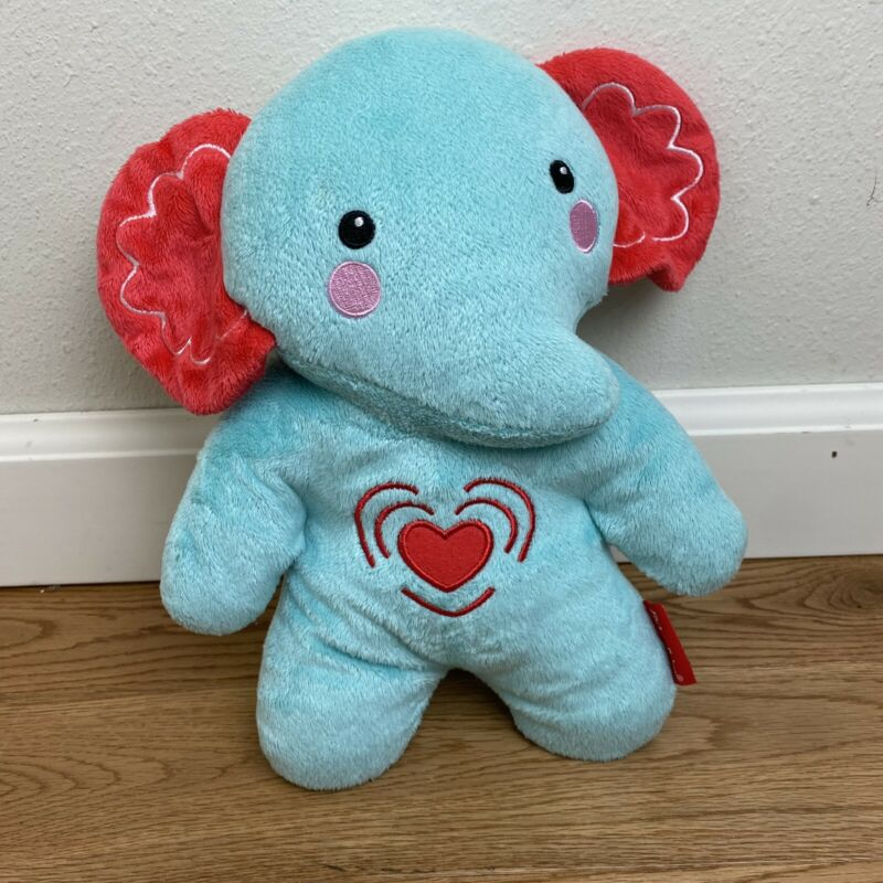 Fisher Price Blue Elephant Calming Vibrations Soother Music Heart Plush WORKING