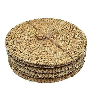 Water Hyacinth Weave Plate Placemats - Set Of 6 - Palm Leaf