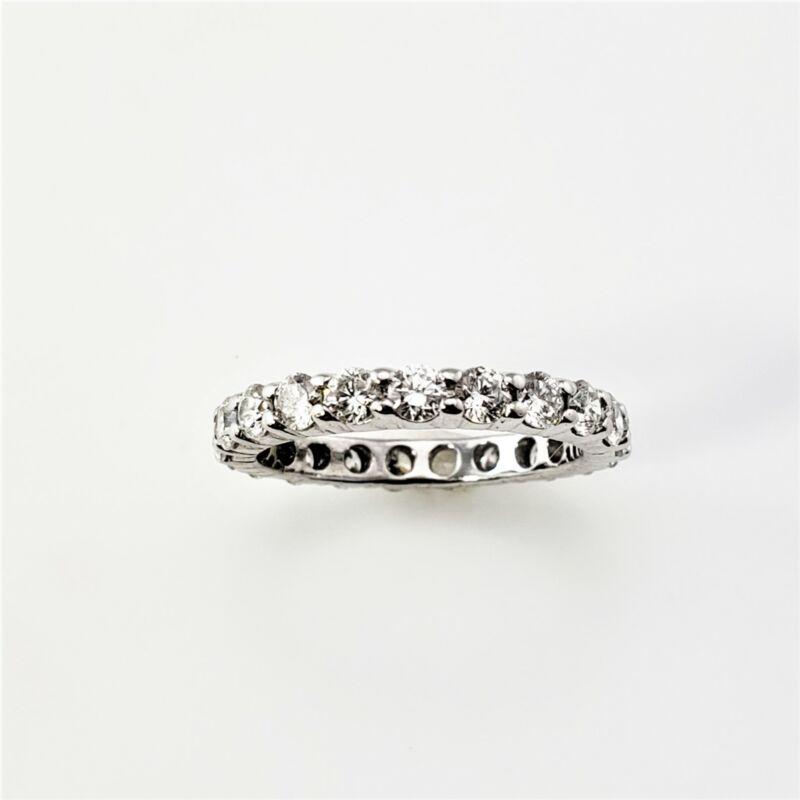 Vintage 14 Karat White Gold Diamond Eternity Band Size 4.75 #8709