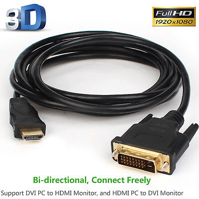 Gold HDMI Male to DVI D Male Adapter Cable for PC LCD HD TV Full HD TV 10 15 FT