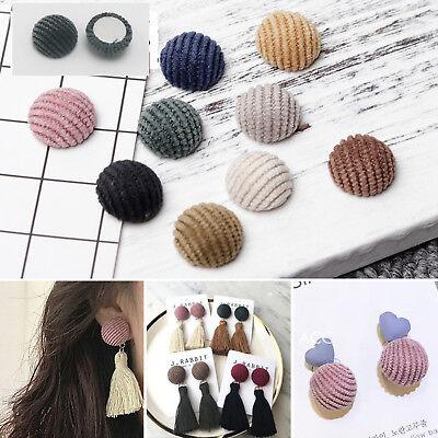 50 Flatback Velvet Covered Buttons 15mm Round Half Ball Cabochon For Earring - Velvet Covered Buttons