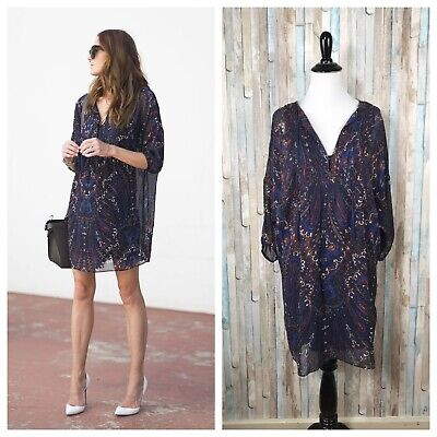 Joie XS Paisley Printed 100% Silk Chiffon Pleated Aggi Peasant Mini Dress $388 Paisley Printed Silk Dress