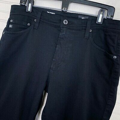 AG Adriano Goldschmied Everett Slim Straight Stretch Black Jeans Men's 33x32