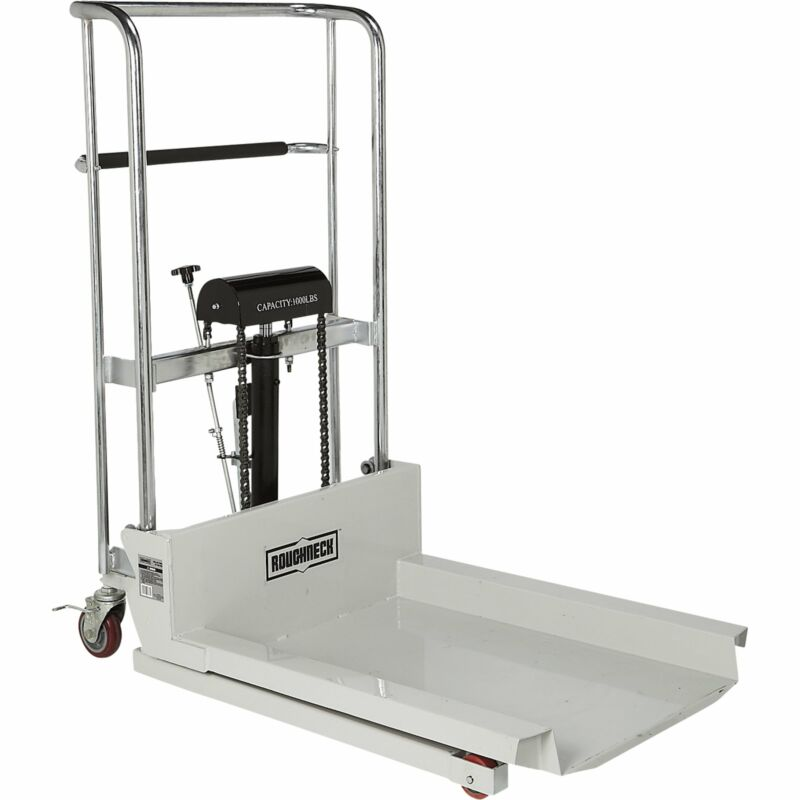 Roughneck Ultra Low-Profile Lift Table Cart - 1,000-Lb. Capacity