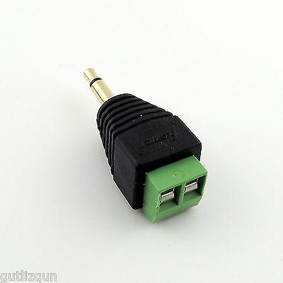"""3.5mm 1/8"""" Mono Male Plug To AV Screw AV Video Balun Terminal Converter Adapter"""