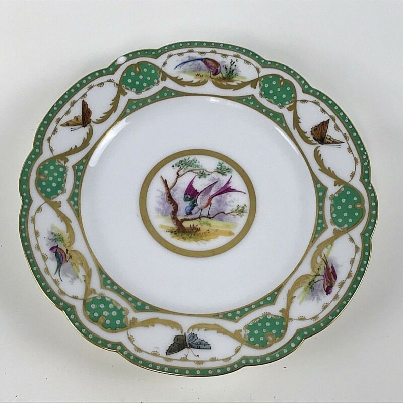 Early Sevre Porcelain Plate W/ Bird & Butterfly Decoration