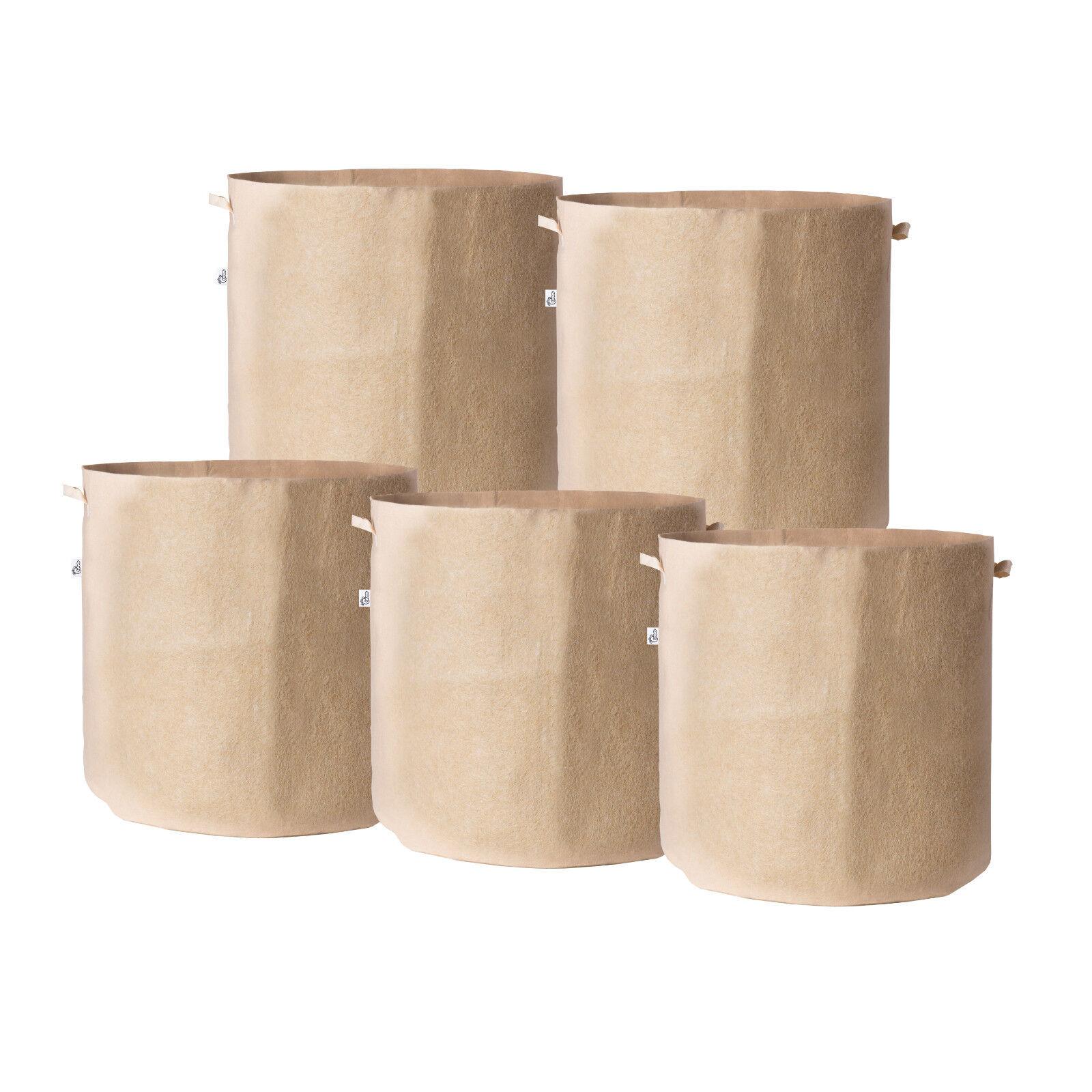 5Pcs/Pack Tan Fabric Grow Pots Breathable Plant Bags Smart P