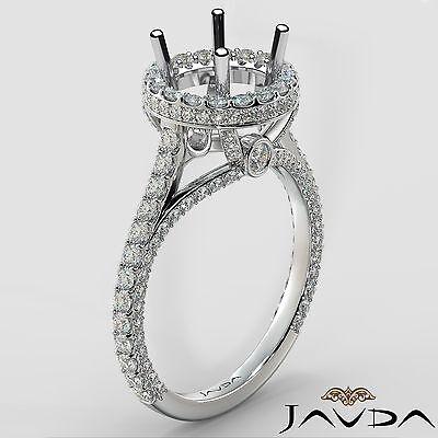 Round Semi Mount Ring 1.26Ct Diamond Engagement Platinum Halo U Cut Prong Set ()