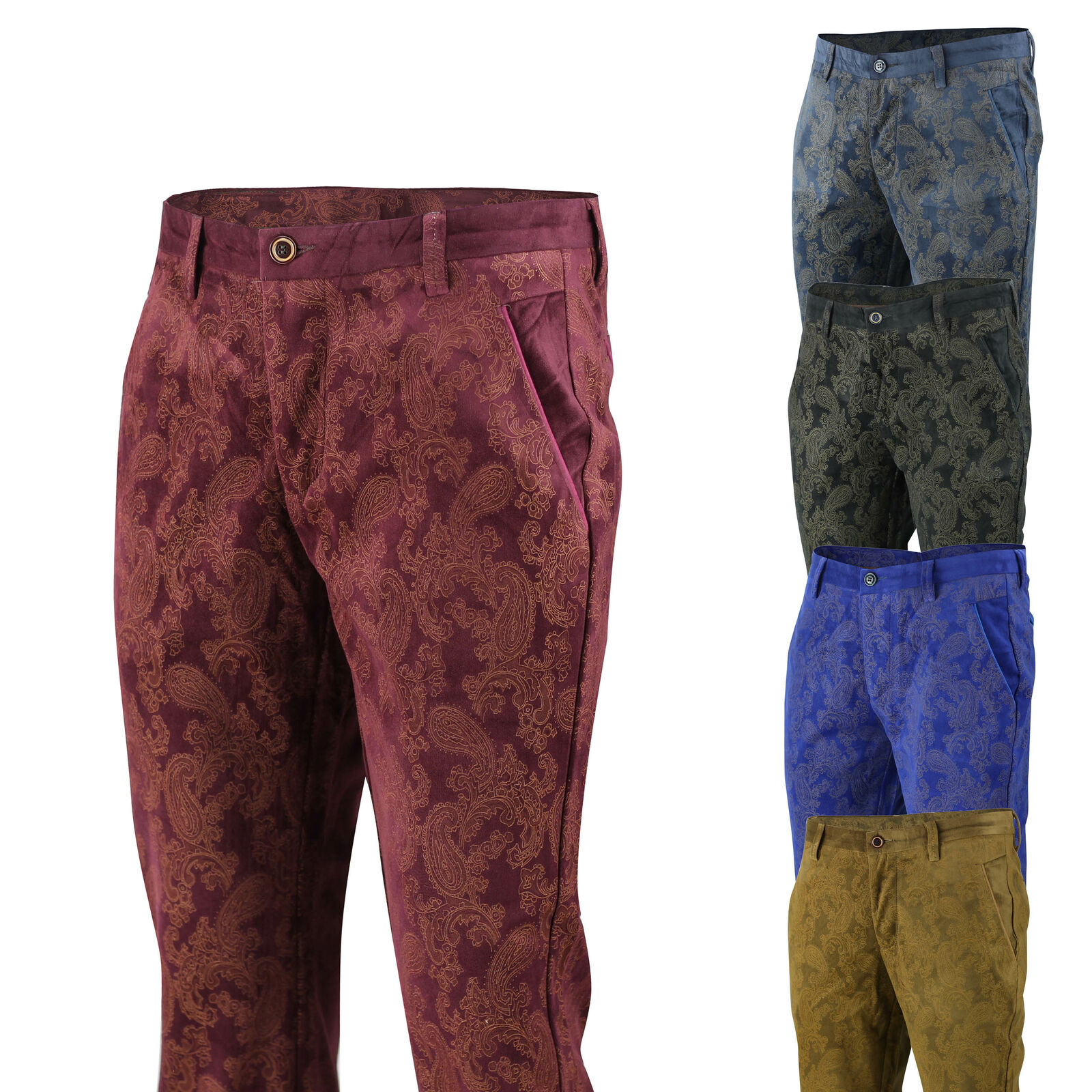 lovely luster high quality materials find workmanship Details about Mens Vintage Slim Fit Side Pocket Paisley Printed Soft Velvet  Trousers Chinos