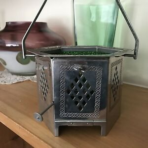 WMF Art Deco Green Glass & Tin Metal Oil lamp, Stamped. Antique