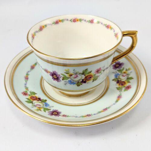 Vintage Colclough Bone China Flower Tea Cup & Saucer Pattern Gold Trim