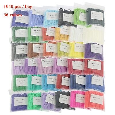 1040pcs Dental Orthodontic Ligature Ties Elastic Bands For Brackets 36 Colors