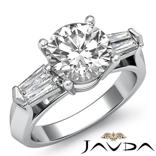 2ct Round Cut Diamond Engagement 3 Stone Prong Set Ring GIA F VS2 14k White Gold
