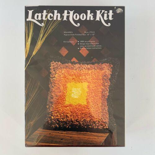 "NEW! Vintage 1978 Sew Simple Latch Hook Kit SQUARES 12"" x 12"" Pillow Orange"