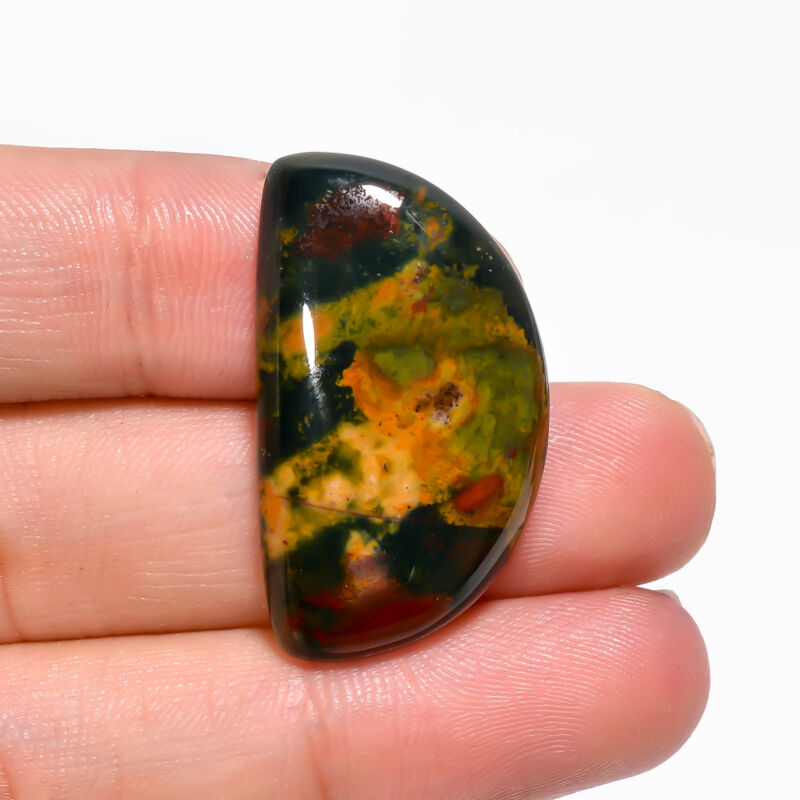 AAA+ 100% Bloodstone D Shape Cabochon Loose Gemstone 26.5 Ct. 32X18X5 mm GC-7696