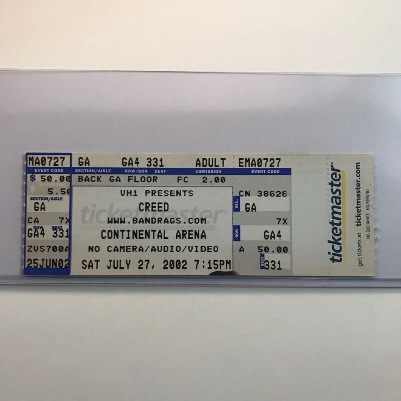 Creed Continental Arena East Rutherford NJ Concert Ticket Stub Vtg July 2002