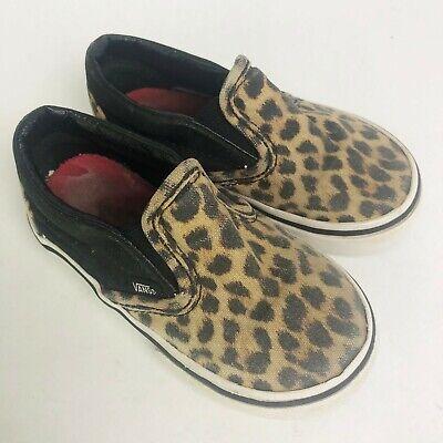 Vans Kids Toddler Girls Size 6 Leopard Animal Print Slip-On Shoes Sneakers