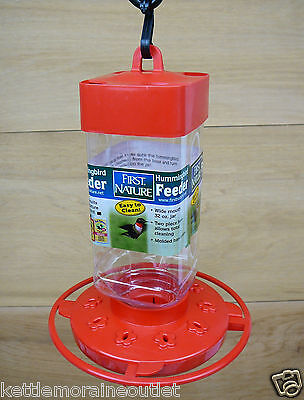 First Nature 32oz Red Plastic Hummingbird Feeder #3055 Easy Clean Base 10 Ports