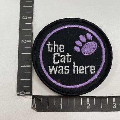 Black & Purple THE CAT WAS HERE Arctic Cat Snowmobile Advertising Patch C09Z