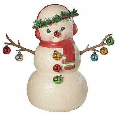"20"" Bethany Lowe Glitter Snowman Ornaments Retro Vntg Christmas Figurine Decor"