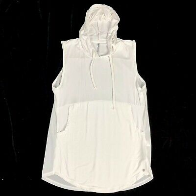 Fabletics Sleeveless Hooded Pullover Womens Size Small White Mesh Back Rina