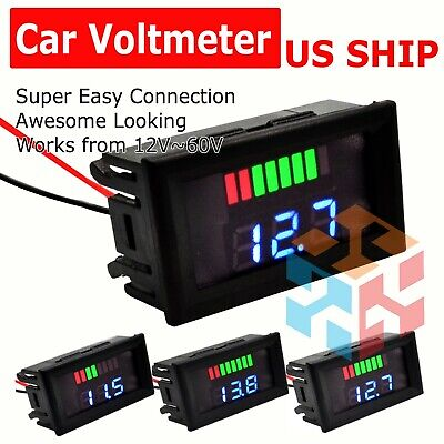12v-60v Car Marine Motorcycle Led Digital Voltmeter Voltage Meter Battery Gauge
