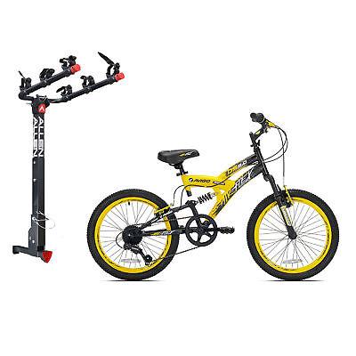 Kent Bikes Avigo Air Flex Steel 20 Inch Boys BMX Bike & 3 Bike Car Hitch Rack