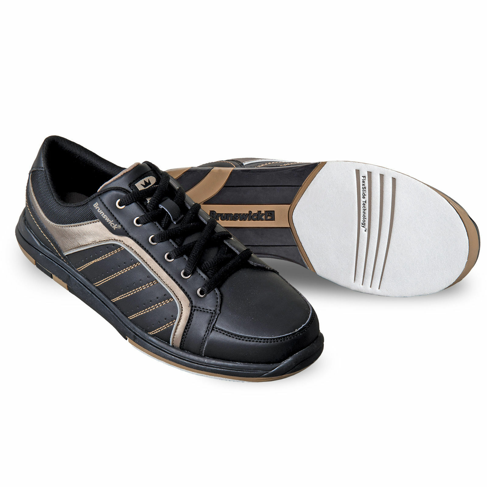 Mens Brunswick CAPTAIN Black with Gold Trim Bowling Shoes Sizes 7 - 14 фото c48161a0bfb