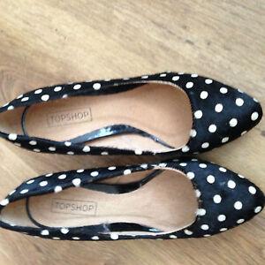 womens size 3 36 topshop black white spot leather