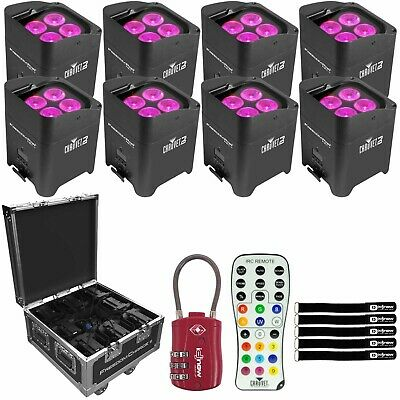 Chauvet DJ 8 Freedom Par Hex-4 Wireless RGBWA-UV Wash Light Charging Road Case