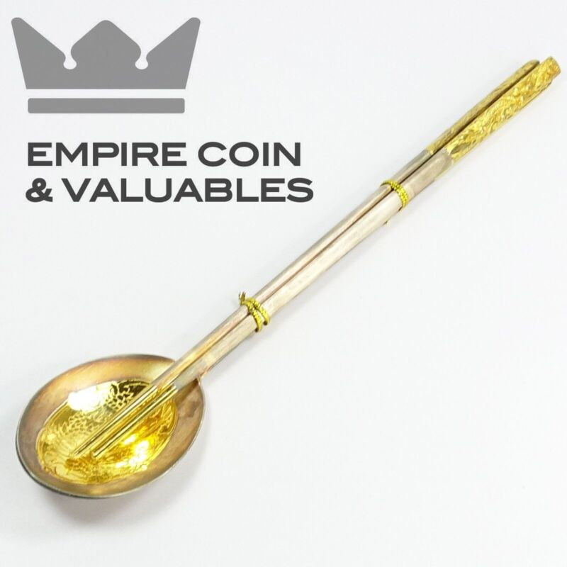 SOLID 990 SILVER Spoon & Chopstick Set with Gold Dragon Overlay 113.2g *GS1