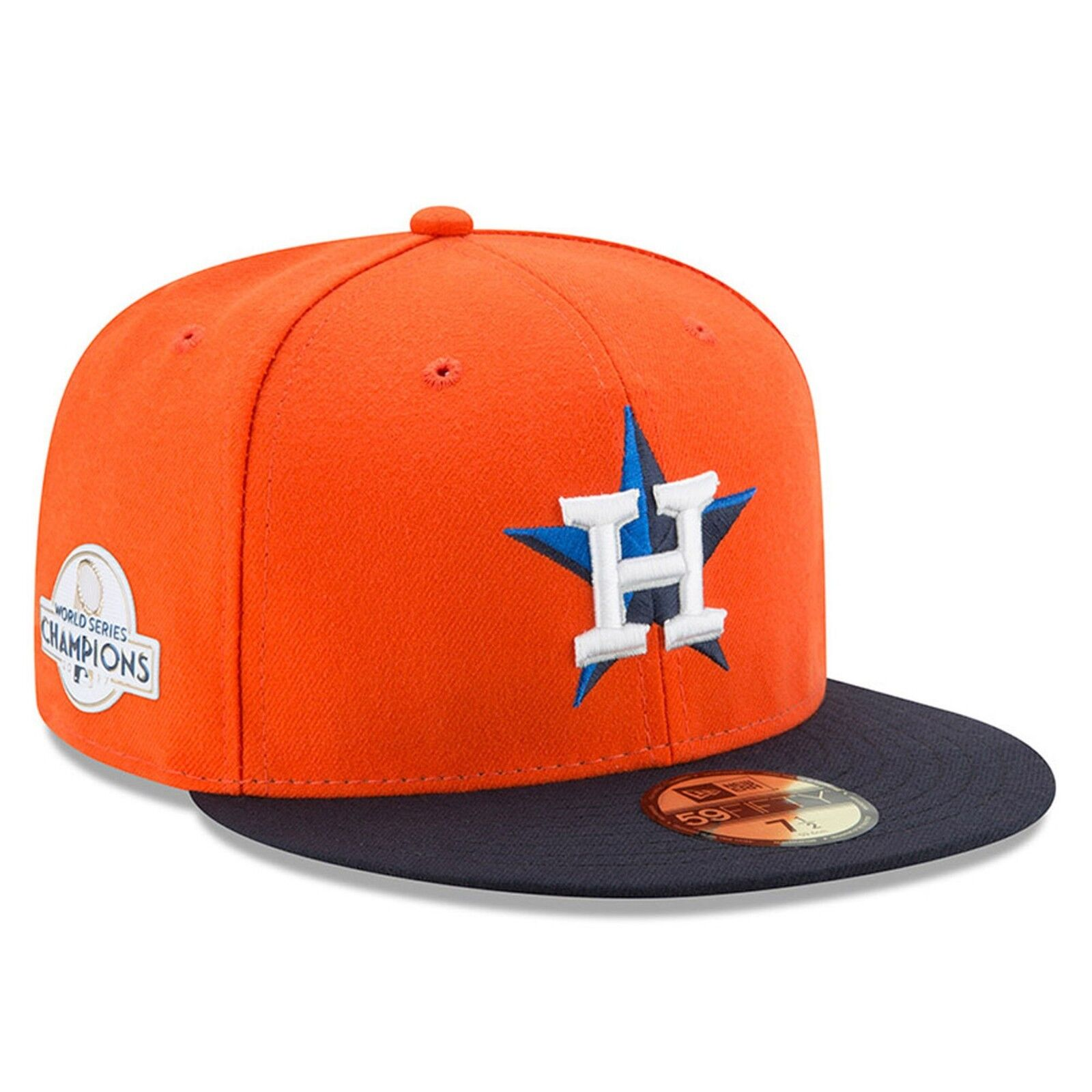 5cb11664e53 Details about New Era Houston Astros Orange  Navy 2017 World Series  Champions Patch Fitted Hat