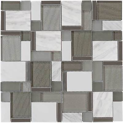Modern Mosaic White Gray Metallic Glossy Polished Glass Stone Tile Wall MTO0002 ()
