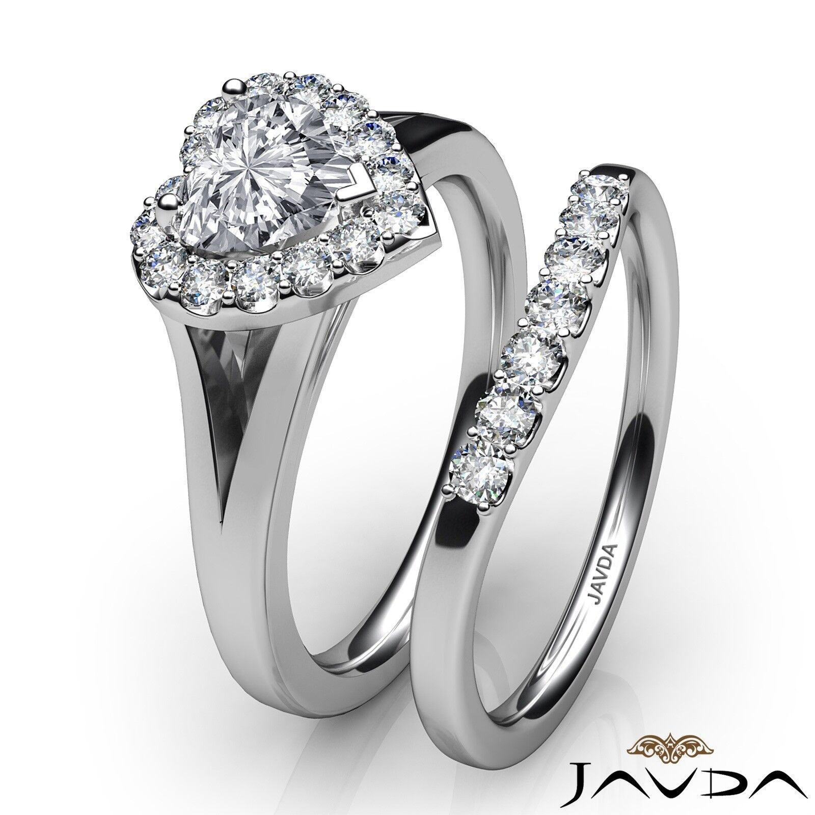1.22ctw Pave Halo Bridal Set Heart Diamond Engagement Ring GIA G-VVS2 White Gold 3
