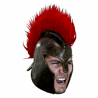 Adult Mens Trojan Latex Costume Helmet w Crest Halloween Gladiator Roman Soldier](Trojan Man Halloween Costume)
