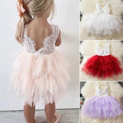Blumen Mädchen Baby Prinzessin Festkleid Kinder Hochzeit Party Tüll TUTU Kleid