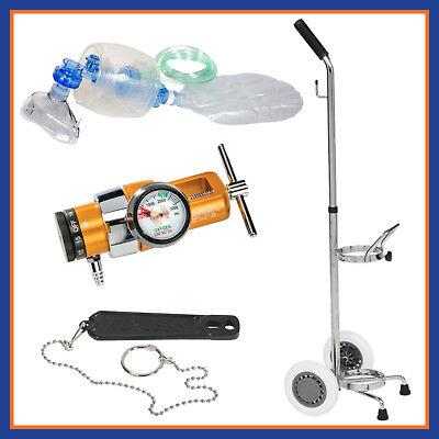 Belmed Emergency Manual Oxygen Resuscitator Kit Portable System W Rolling Cart
