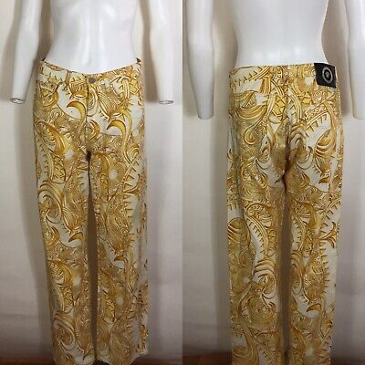Rare Vtg Gianni Versace Jeans Yellow Gold Baroque Pants XL