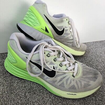 Nike 'Lunarglide 6' Running Trainers White Lime Green Size UK 6