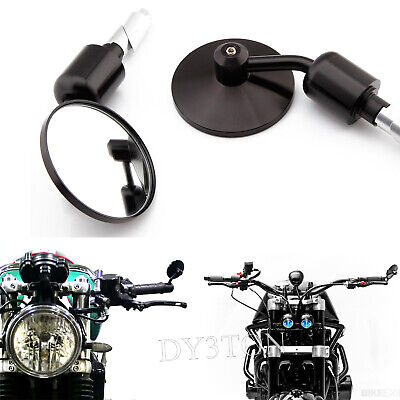 BLACK MOTORCYCLE BAR END MIRRORS BIKE REARVIEW ROUND FOR TRIUMPH THRUX