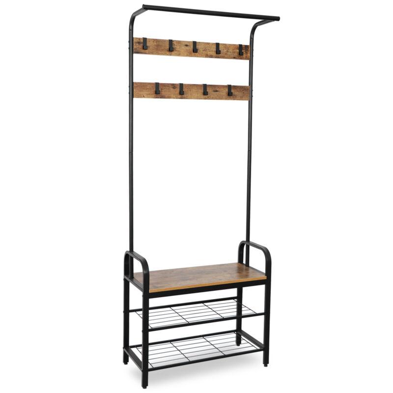 Coat Rack Shoe Bench Hall Tree Entryway Storage Shelf Wood Look Accent Furniture