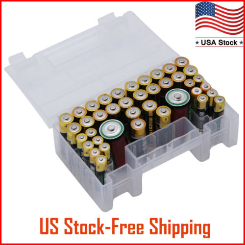 Battery Organizer Storage Case for AA AAA C Battery Holder Box Container Plastic