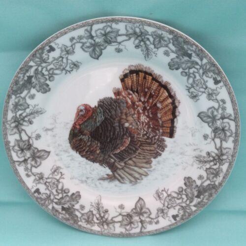 "Williams Sonoma Plymouth Turkey GREY Dinner Plate~NEW~10 1/2"" {{GRAY Leaf Trim}}"