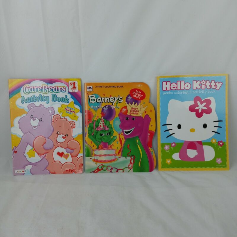 Lot of 3 Coloring Books Care Bears Barney Hello Kitty Stickers and Activities