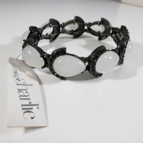 Designer Signed Charming Charlie Gun Metal  Greenish Rhinestones White Bracelet