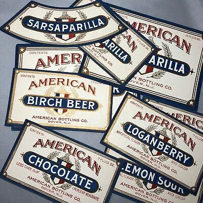 30 1930s AMERICAN Bottling SODA Bottle Label DOVER NJ 15 Flavors Birch Root Beer