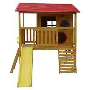 Elevated Wooden Timber Cubby House Play Fort with Slide Rock Wall Mandurah Mandurah Area Preview